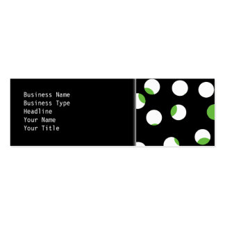 Black, White and Green Spotty Pattern. Mini Business Card