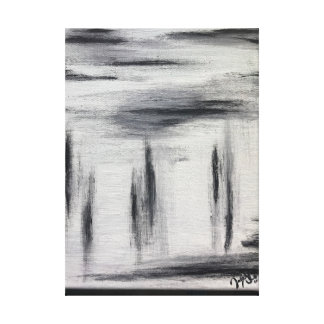 Black White and Grey Abstract Painting Canvas Print