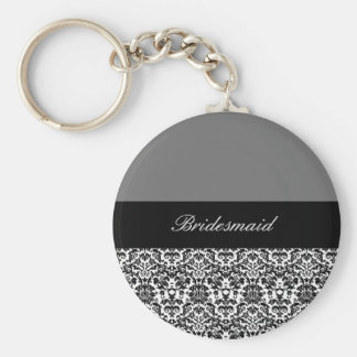 black,white and grey damask design 2 keychain