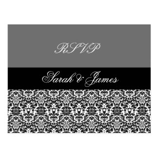 black,white and grey damask design 2 postcard