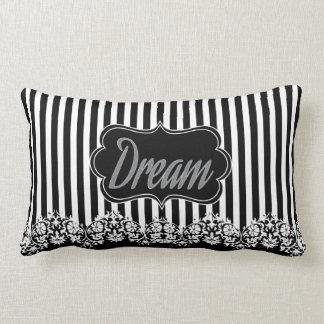 Black, White and Grey Damask Stripe Pattern Lumbar Pillow