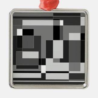 Black, white and grey square design. christmas ornament