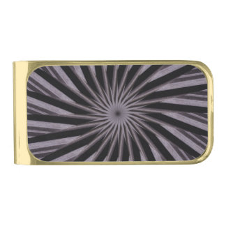 Black white and grey swirly template abstract art gold finish money clip