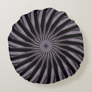 Black white and grey swirly template abstract art round pillow