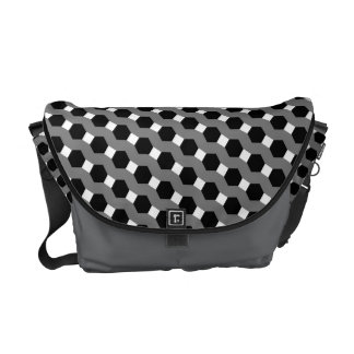 Black, White and Grey Tessellation Pattern Courier Bags
