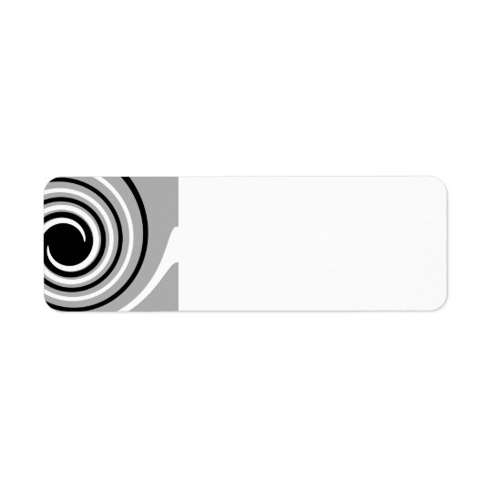 Black, White and Grey Twist Design. Return Address Label
