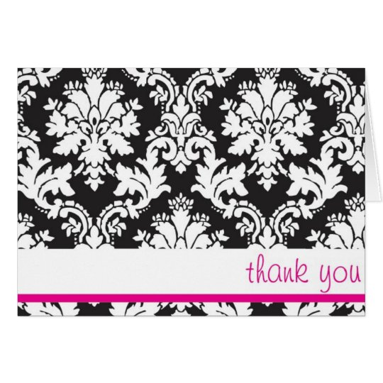 black white and hot pink damask thank you card