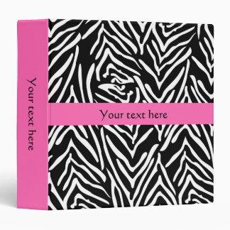 Black, White and Hot Pink Zebra Print Vinyl Binder