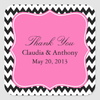 Black, White and Hot PinkZigzag Wedding Thank You Square Sticker