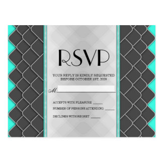 Black, White, and Neon Teal Modern Elegant Pattern Postcard