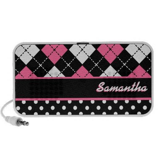 Black White and Pink Argyle Polka Dot Custom Name Mp3 Speakers
