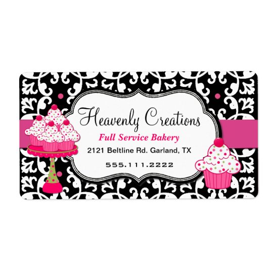 Black, White, and Pink Damask Bakery Label