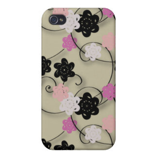 Black White and Pink Flower Pattern iPhone 4 Cases