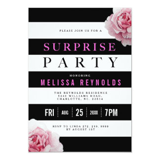 Black White and Pink Roses Surprise Party Card