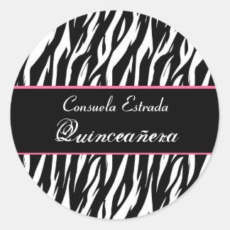 Black White and Pink Zebra Quinceanera Round Classic Round Sticker