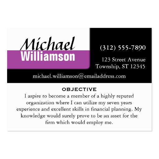 black white and purple corner resume cards business card