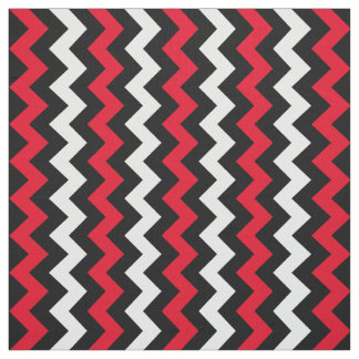 Black White and Red Chevron Fabric