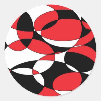 Black, white and red ellipticals classic round sticker
