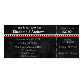 Black White and Red Jack & Jill Shower Tickets Rack Card