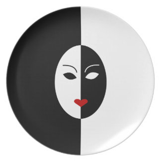 Black White and Red Mask Plates