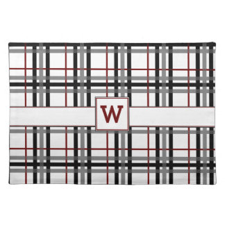 Black White and Red Plaid Place Mat