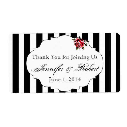 Black White and Red Rose Water Bottle Label