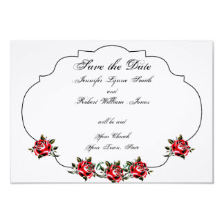Black White and Red Rose Wedding Save the Date Card