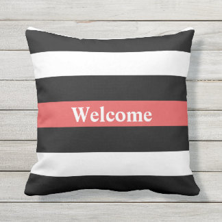 Black White and Red Striped Welcome Outdoor Pillow