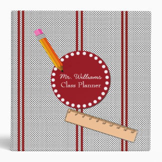 Black, White, and Red Teacher's Class Planner Vinyl Binder