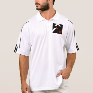 BLACK, WHITE AND RUST ABSTRACT DESIGN GOLF SHIRT