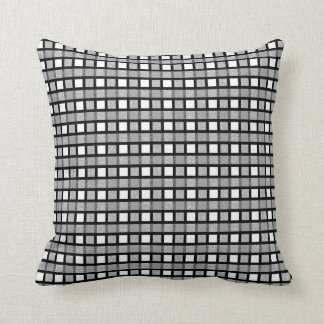 Black, White and Silver Static Weave Throw Pillow