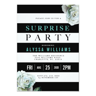 Black White and Teal Roses Surprise Party Card