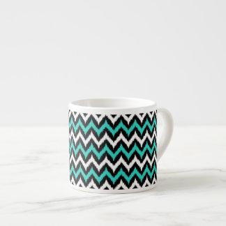 Black, White and Turquoise Zigzag Ikat Pattern