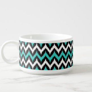 Black, White and Turquoise Zigzag Ikat Pattern Bowl