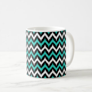 Black, White and Turquoise Zigzag Ikat Pattern Coffee Mug