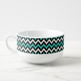 Black, White and Turquoise Zigzag Ikat Pattern Soup Mug