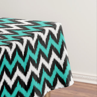 Black, White and Turquoise Zigzag Ikat Pattern Tablecloth