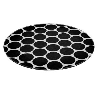 Black White And White Polka Dots Pattern Cutting Board
