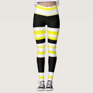 black white and yellow stripes Horizontal Leggings