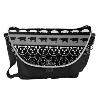 Black White Animals Modern Stripes Pattern #2 Commuter Bag