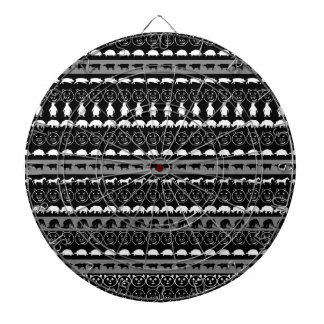 Black White Animals Modern Stripes Pattern #2 Dartboard