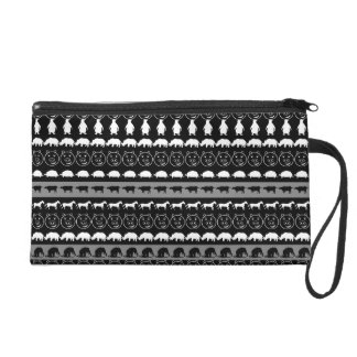 Black White Animals Modern Stripes Pattern #2 Wristlet