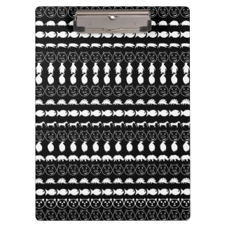 Black White Animals Modern Stripes Pattern Clipboard