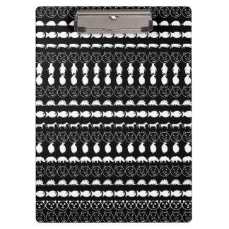 Black White Animals Modern Stripes Pattern Clipboards