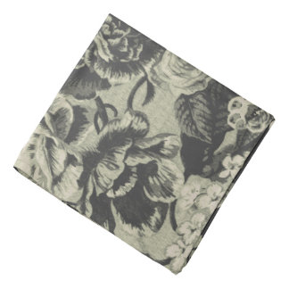 Black White Antique Vintage Floral Toile Hanky Bandana
