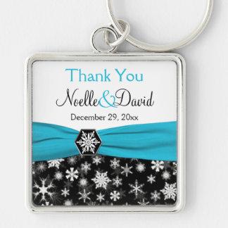 Black, White, Aqua Snowflake Thank You Key Chain