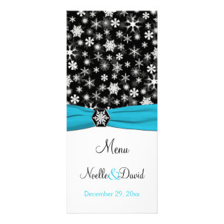 Black, White, Aqua Snowflakes Menu Card
