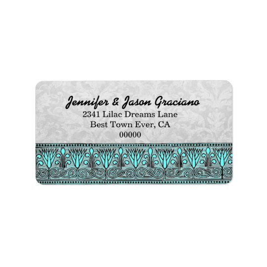 Black White Aqua Vintage Flowers  Scroll Wedding Label