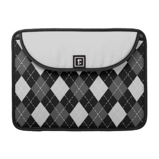 Black & White Argyle Pattern Macbook Flap Sleeve