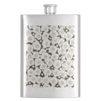 Black White Art Print Floral Asian Flowers Hip Flask